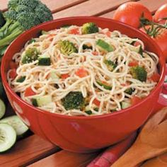 Supreme Spaghetti Salad  I use green peppers instead of broccoli. You can add about anything you like though. Black olives or mushrooms would be good.