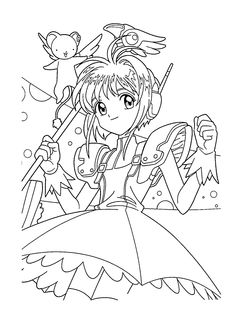 Sakura manga coloring pages for kids, printable free