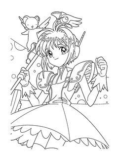 Sakura manga coloring pages for kids, printable free