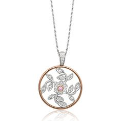 This glimmering 18K white and rose pendant is comprised of .29ctw round white Diamonds and .02ctw round pink Diamonds.    MP1000-R