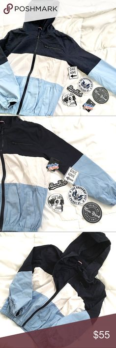 Brandy Melville Krissy Jacket Keychain Bundle Super cute navy blue & white krissy windbreaker jacket from Brandy Melville! sold out on the brandy website! No tags but never worn. Fits like a size small! Including USA keychain from brandy melville and some rare stickers (shown in photos)  open to reasonable offers!☺️ Brandy Melville Jackets & Coats