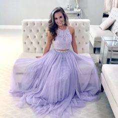 Lavender Halter Two Piece Lace Prom Dress,A-Line Floor Length Evening Dress