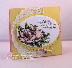 It's reveal day 3 at Flourishes and Stacy Morgan created this beautiful card using Flourishes brand new Magnolias Stamp Set by Marcella Hawley. Be Sure to check out her Blog for more details.