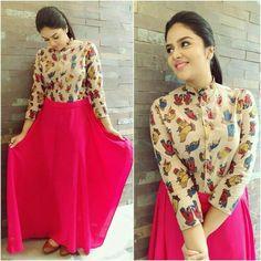 Flattering Kalamkari Dresses from Rekha's Couture Kalamkari Designs, Salwar Designs, Kurta Designs Women, Kurti Designs Party Wear, Blouse Designs, Indian Fashion Dresses, Indian Gowns Dresses, Dress Indian Style, Indian Designer Outfits