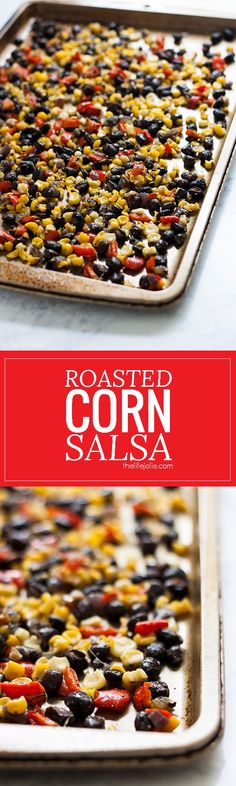 This Roasted Corn Salsa recipe is an easy and healthy addition to a salad, meat-based dinner entree or eggs in the morning. It's homemade with black beans, fresh corn, onions and peppers- I seriously love this so much I now keep a container of it in my re Easy Healthy Recipes, Easy Dinner Recipes, Appetizer Recipes, Appetizers, Delicious Recipes, Dip Recipes, Healthy Dinners, Veggie Recipes, Free Recipes
