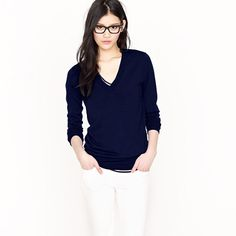 Merino V-neck sweater  in navy, black, blue and pink