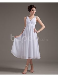 Chiffon V-Neckline Tea-Length Column Wedding Dress with Beaded