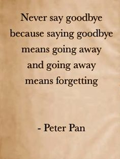 """never say goodbye because saying goodbye means going away and going away means forgetting."" ~Peter Pan"