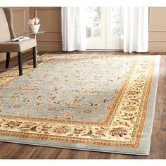 I like this for under the bed... <br><li>Traditional Persian and European designs enhance any living room or home decor <li>Rug features floral motif set on light blue background with ivory border <li>Enhanced polypropylene area rug construction keeps dirt out