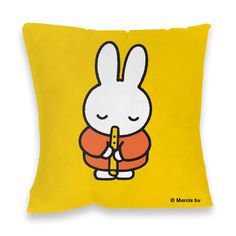 Miffy playing the recorder, on a yellow background. Buy this Miffy mini poster today! Pocket Edition, Miffy, Kid Character, Line Friends, Toot, Yellow Background, Poster Prints, Doodles, Beer