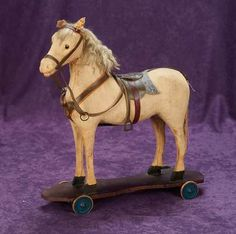 German pull-toy horse, circa 1885.