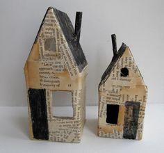 cathy cullis - papier mache + black gouache - nesting houses (set 1) | little art house