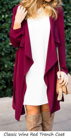 Wine Red Long Sleeve Lapel Trench Coat + thigh boots / Best Transitional Season Street Fashion