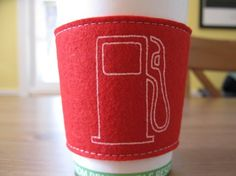 Screenprinted cup cozy.