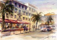 Toshiro Kamezaki   「世界の港」シリーズ  Harbor of the world Series  フランス カンヌの港カフェ  French Cafe in Cannes.