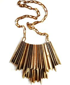 gold pleated necklace