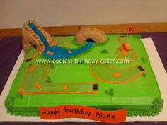 Coolest Putt Putt Golf Cake: For my son's 10th birthday, he wanted to have his party at the local Putt-Putt Fun Center, and  a cake to match. We searched this site and others, then