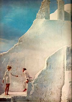 Jean Shrimpton and Jeanloup Sieff at the Church of Paraportiani in Mykonos, by Richard Avedon for Vogue January 1967