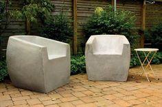 Van Dyke Chair: Zachary Bitner: Concrete & Fiberglass Chair - Artful Home Contemporary Outdoor Sofas, Modern Outdoor Furniture, Concrete Furniture, Pool Furniture, Outdoor Sofa Sets, Outdoor Chairs, Outdoor Seating, Outdoor Spaces, Outdoor Living