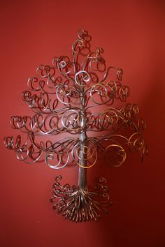 Wall Mouted Jewelry Wire Tree Stand Necklace by schenalindley, $35.00