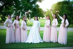 Modest blush pink lace and chiffon bridesmaid dresses by Dainty Jewell's Modest Apparel. Storybook Wedding Photography | http://www.storybookok.us/#hello