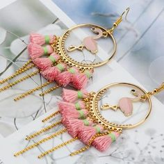 Hndmade Jewelry Handmade Earrings Gold Color Pink Flamingo Tassel - The Flamingo Shop - Size: x 1 Pair Earring Type: Drop Earrings Fine or Fashion: Fashion Shape\pattern: Flamingo Style: Trendy Metals Type: Zinc Alloy Material: Metal Indian Jewelry Earrings, Indian Jewelry Sets, Fancy Jewellery, Jewelry Design Earrings, Pink Jewelry, Stylish Jewelry, Cute Jewelry, Crystal Jewelry, Beaded Earrings