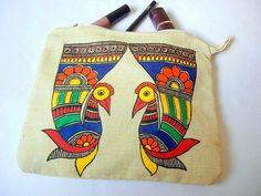 Madhubani motif Worli Painting, Saree Painting, Fabric Painting, Fabric Art, Madhubani Art, Madhubani Painting, Arte Tribal, Tribal Art, Painted Bags