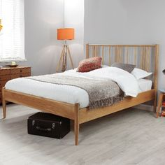 Silentnight's Hamilton Wooden Bed, constructed from oak wood, available in a double and king size. Silentnight, Wooden Bed, Bedstead, Bed, Beds Uk, Interior, Home Decor, Full Bed, Bed Next