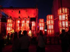 Huge lights for a summer festival made from pallets in pallet outdoor project  with Pallets Light Festival