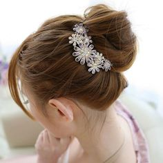 1PC Fashion Crystal Flower Hairpins Metal Hair Clips For Women Female Hairclips Hair Comb Hair Accessories Headwear Styling Tool