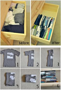 This would require ironing. But, it is a space saver. T-Shirt Folding Organization