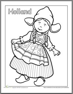 First Grade People Community Cultures Worksheets Dutch Traditional Clothing Coloring Page