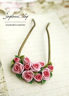 pink polymer clay rose hair stick hair accessories by Joyloveclay