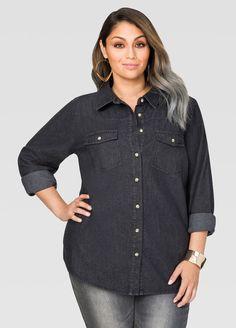 f4e4392cc5076 Black Wash Denim Shirt Black Wash Denim Shirt Plus Size Shirts
