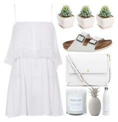 """Untitled #4929"" by prettyorchid22 ❤ liked on Polyvore featuring Topshop, Birkenstock, Tory Burch, Bloomingville and S'well"