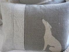 helkatdesign - hand printed grey loom state linen whippet/grey hound cushion
