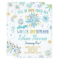 Winter ONEderland Birthday Invitation Blue Gold - giftidea gift present idea one first bday birthday 1stbirthday party 1st