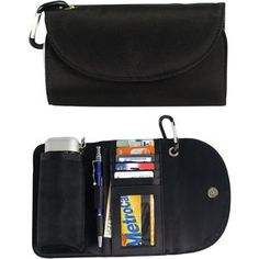 """Wallet Organizer With Umbrella, 38"""" manual mini umbrella comes in a compact wallet that holds up to 5 credit cards, has an id holder and billfold and magnetic closure. Comes with a carabineer clip. #promotional _products #printing _buyers"""