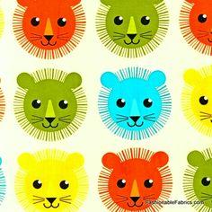 Fabric... Roar Lion Heads in Burmuda by Robert Kaufman Fabrics