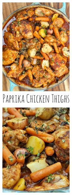 One-Pot dish of delicious vegetables and flavor - easy entertaining with Paprika Chicken Thighs