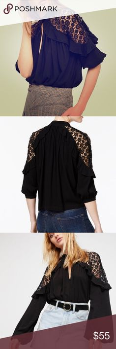 Free People Little Bit of Love Crochet-Trim Blouse Free People Little Bit of Love Crochet-Trim Blouse In a flowy silhouette, this top features sheer crochet detailing on the shoulders. Ruffle trim, Button closures at the front neck Plunging neckline Boxy fit  Bust : 74 in Length: 23 in Sleeve Length: 31.125 in Free People Tops Blouses