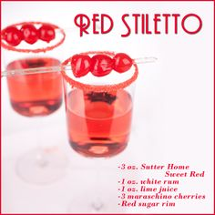 Red Stiletto wine cocktail, made with Sutter Home Sweet Red and white rum!