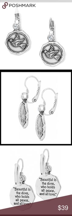 """🥁NWT BRIGHTON Dove Leverback Earrings Brighton Dove Leverback Earrings.                                                                                                       Width: 3/4"""" Type: French Wire Lever Back Drop: 1"""" Material: Swarovski crystal Finish: Silver plated Brighton Jewelry Earrings"""