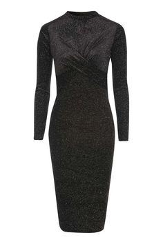 Glitter Velvet Long Sleeve Midi Dress 50 EUR