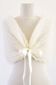 Ivory Bridal Cape Wedding Wrap Bridal Shrug by reflectionsbyds – how pretty would that be in a smaller size for a flower girl, Easter or a communion? Bridal Shrug, Bridal Cape, Bow Scarf, Wedding Cape, Crochet Wedding, Shawls And Wraps, Bridal Accessories, Wedding Dresses, Wedding Shawls