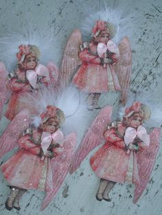 Items similar to Victorian little girl angels *Christmas*Hand cut and handpainted with German glitter*You will receive all four when you purchase on Etsy Victorian Christmas Decorations, Victorian Crafts, Victorian Angels, Shabby Chic Christmas, Vintage Christmas Ornaments, Vintage Crafts, Pink Christmas, Christmas Images, Christmas Angels