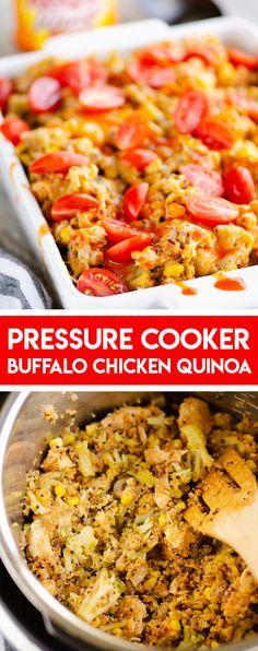 Recipes Quinoa Pressure Cooker Buffalo Chicken Quinoa is a healthy casserole style recipe made in the Instant Pot in less than 20 minutes with broccoli and corn. It's perfect for an easy weeknight dinner or meal prep lunches! Chicken Quinoa Recipes, Buffalo Chicken Quinoa, Chicken Meal Prep, Healthy Chicken Recipes, Easy Healthy Recipes, Southwest Chicken, Healthy Ramen, Chicken Broccoli, Pressure Cooker Chicken