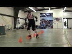 Roller derby blocking - rolling coverage cone drill - YouTube