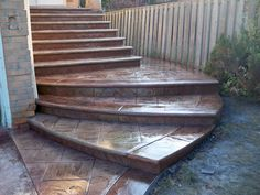Oasis stamped concrete 20 years of experience in Concrete Driveways, front walkways, sidewalk, Back patios, concrete steps - Toronto. Concrete Front Steps, Concrete Driveways, Walkways, Front Door Steps, Front Walkway, Front Porch, Stamped Concrete, Back Patio, Patio Ideas