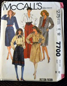 Vintage Sewing Pattern McCall's 7700 80's Misses' Blouse and Skirt Size 12 Bust 34  Complete Uncut FF by GoofingOffSewing on Etsy